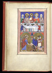 Wedding at Cana and Expulsion of the Moneychangers, in a Psalter